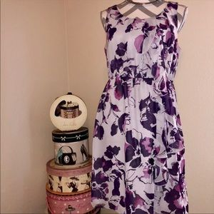 Purple Watercolor Floral Dress with Ruffle Med